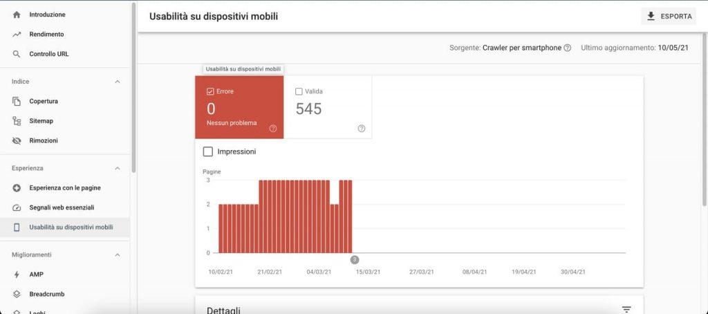 Rapporto usabilità su dispositivi mobili Search Console