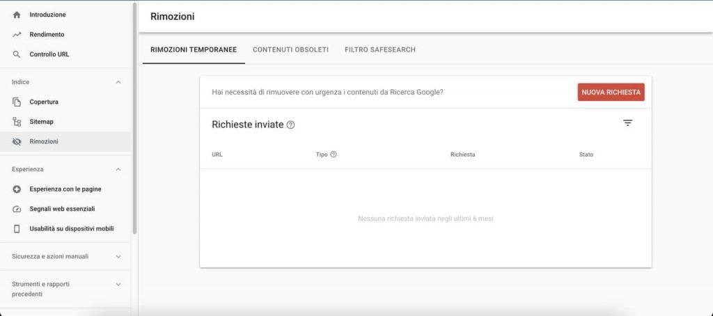 Rapporto rimozioni Google Search Console