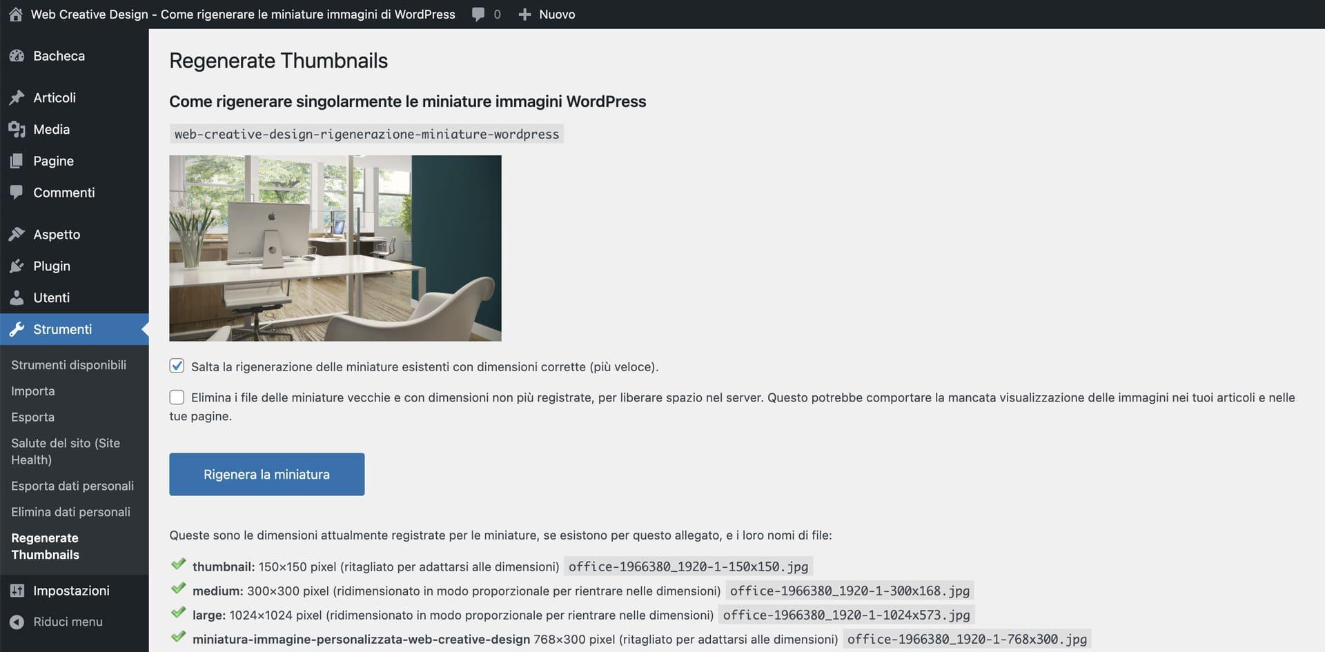 Rigenerare miniatura singola WordPress